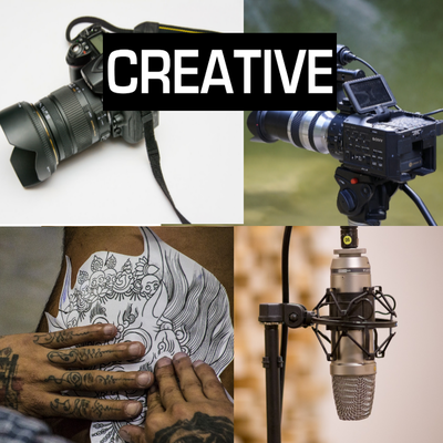 Creative services: Photographers, Videographers, Artists, Studios, Musicians, Tattoo Artist and more.
